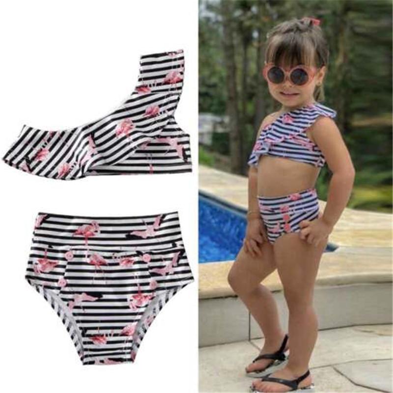 2020 New Infant Baby Girls Off Shoulder Ruffles Bikini Set Cartoon Striped Swimwear Swimsuit High Waist Swimming Sunsuit Clothes