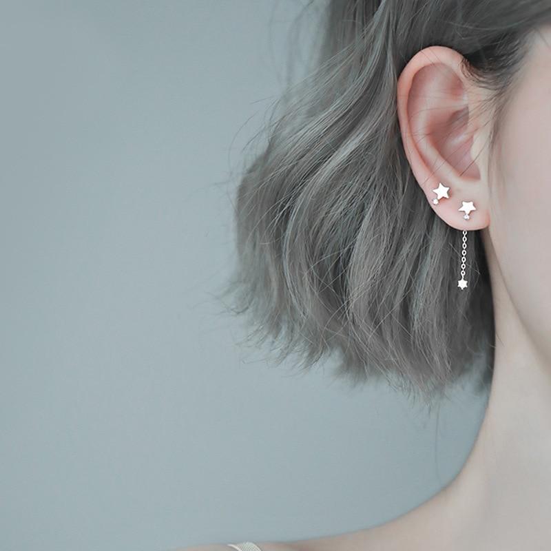 Boucles doreilles asymétriques pour femmes, bijoux fantaisie, pendentif, goutte détoile, argent Sterling 925, eh281