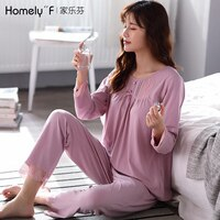 Women\'s Pajamas Spring and Autumn Long Sleeve Modal Cotton Silk Cotton Silk Home Clothing Spring Thin Mom XL Set