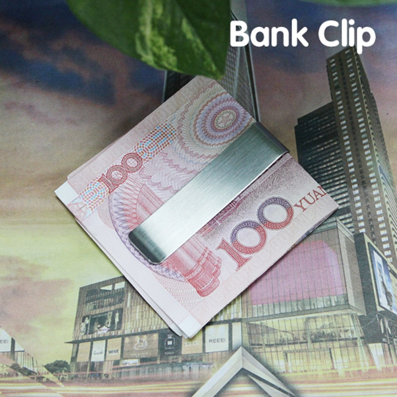 Clip de dinero de acero inoxidable plateado Clip de monedero Pin tarjeta de crédito pasaporte titular para hombres QP2
