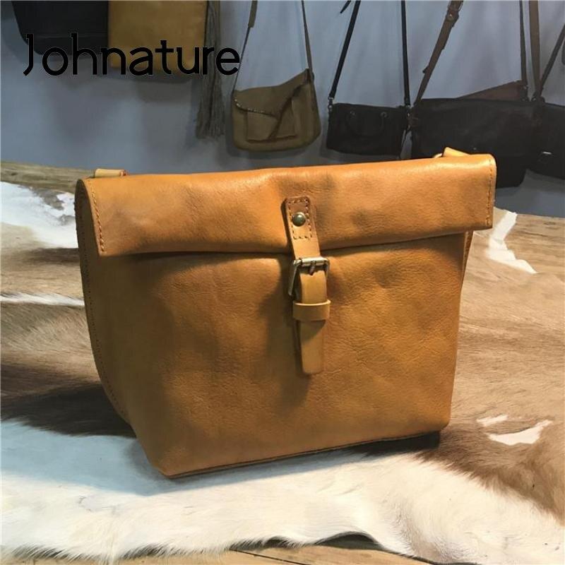 Johطبيعة-حقيبة كتف ريترو بسيطة للنساء ، حقيبة كتف صغيرة من جلد البقر ، لون سادة ، مجموعة جديدة 2021