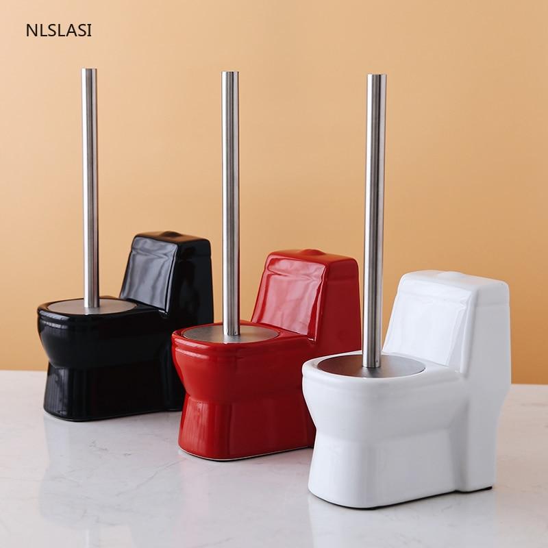 الإبداعية شكل المرحاض السيراميك قاعدة فرشاة المرحاض فرشاة المرحاض المنزل اكسسوارات الحمام مجموعة لوازم التنظيف أدوات