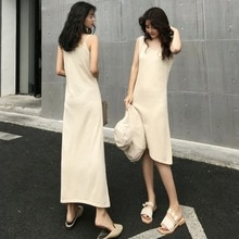 2021 New Spring Mid-Length Knitted Camisole Dress Women's Temperament Slim Looking Base Dress Fashio
