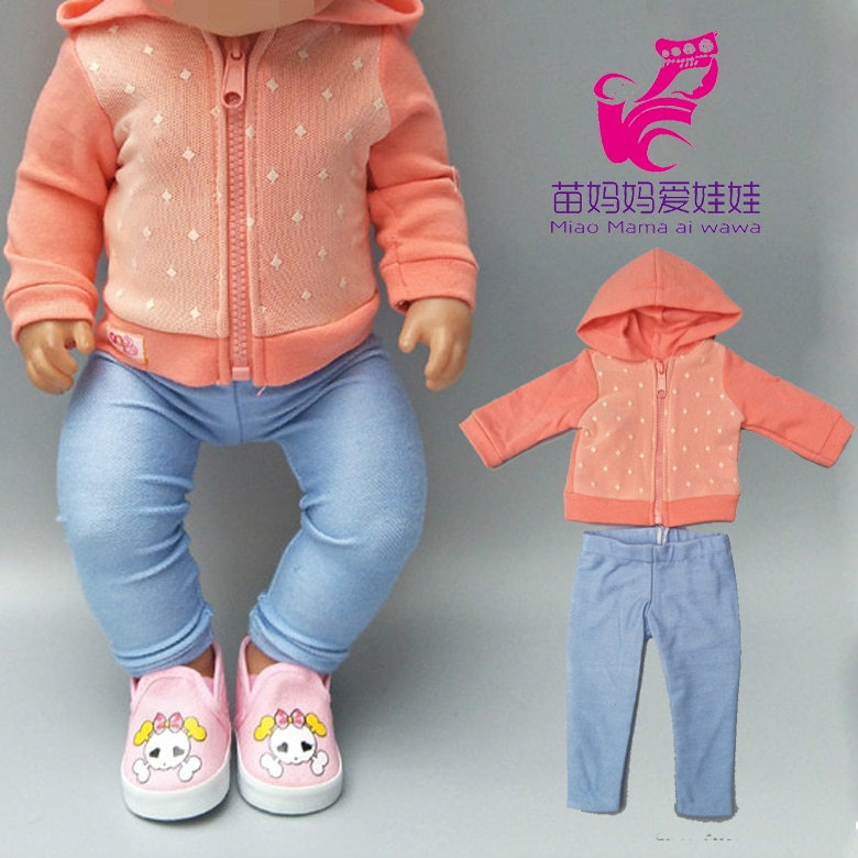 43cm Doll clothes Wearing 18 Inch new born Baby Doll Jacket pants for Doll Children New Year Small G