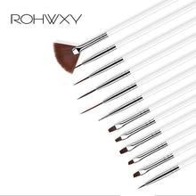 ROHWXY 12 pièces ensemble de manucure crayon pointage peinture Design acrylique Nail Art brosse pour manucure décoration un ensemble de brosses