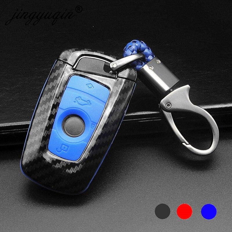 Jingyuqin 10x funda carcasa para llave de coche de fibra de carbono para Bmw F05 F10 F20 F30 Z4 X1 X4 X5 X6 nuevo X7 estilo de coche de fibra de carbono