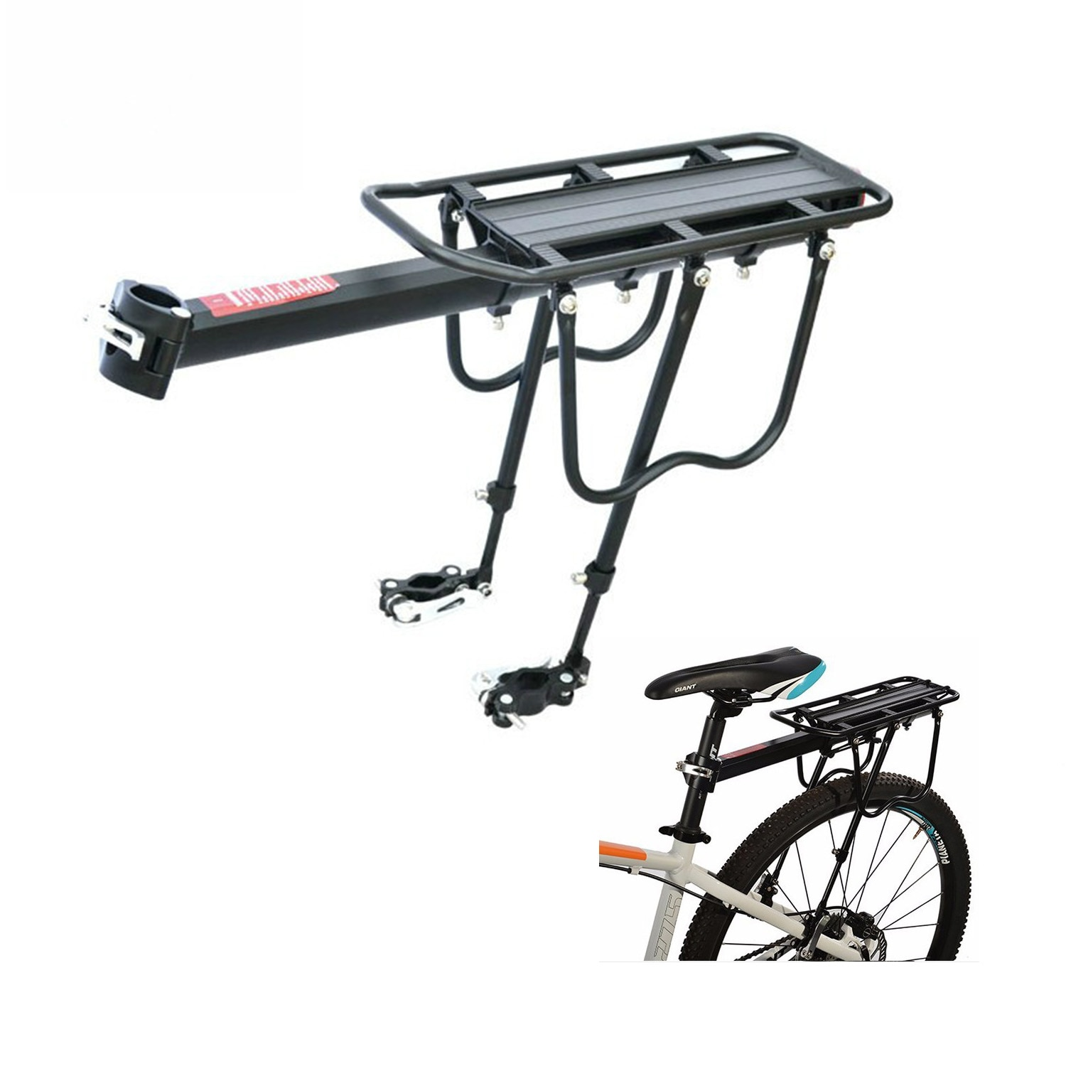 Bicycle Luggage Carrier Rear Cargo Rack Stand 35-13.5'' Bike Trunk 50KG Load Fit 4.0 '' Fat Bike Tire