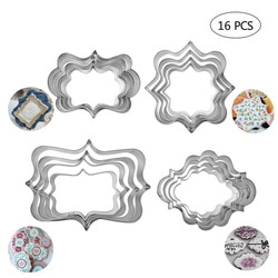 16 unidades/pacote placa quadro biscoito biscoito cortador conjunto de aço inoxidável bolo fondant panqueca cortadores molde pastelaria ferramenta decoração festa