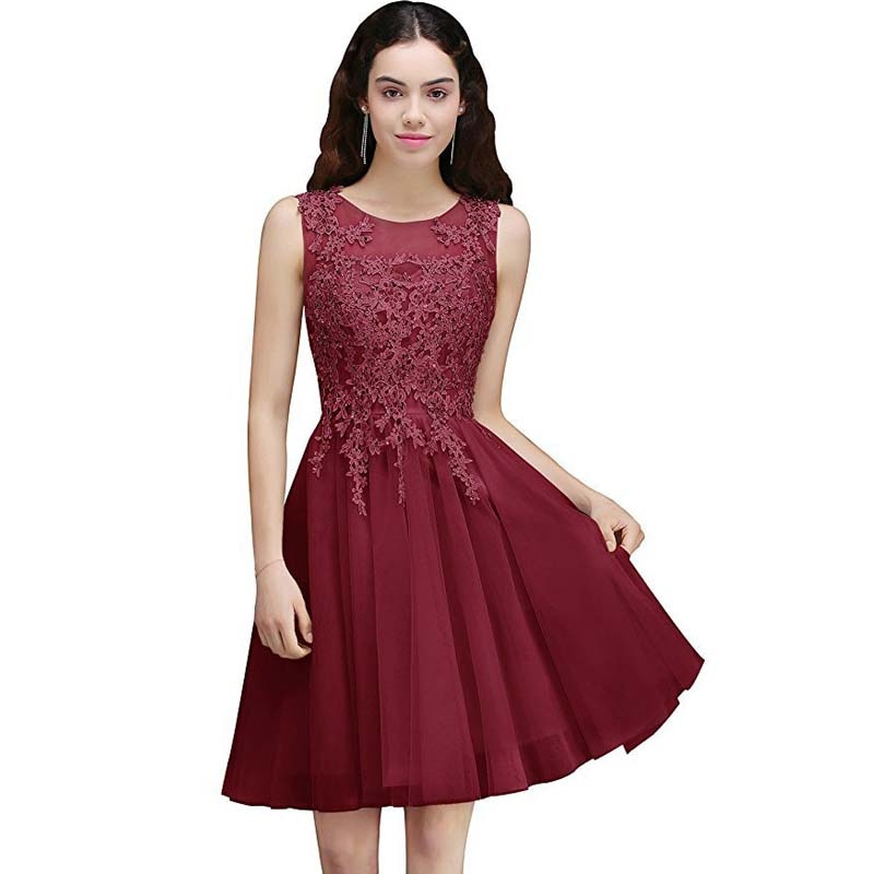 Sweet A Line Round Neck Sleeves Gowns Knee-Length Grey Appliques Illusion Burgundy Short Homecoming Dress For Cocktail Party halter backless applique beaded homecoming dress illusion lace up sleeveless cocktail dress short blue a line graduation gown