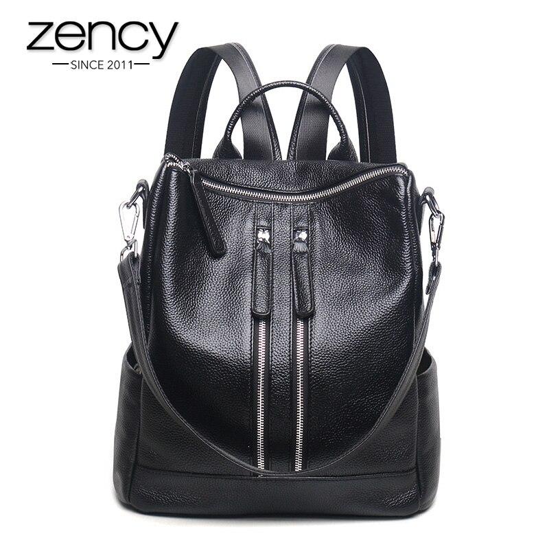 Zency Fashion Genuine Leather Women Backpack Ladies Travel Bags Girl Schoolbag Preppy Style 3 Ways Wearing Fashion Knapsack