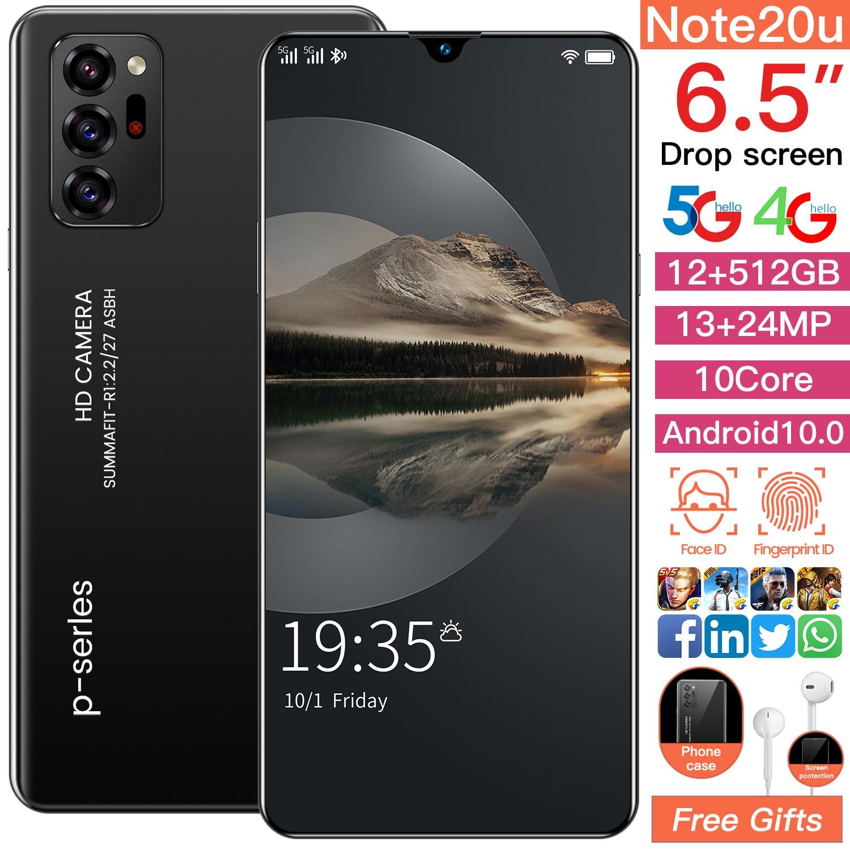 SAILF Note20u Android 10.0 Mobile Phone 6.5' FHD+ 24MP Triple Camera 12G RAM 512GB ROM Smartphone 4G gsm Global