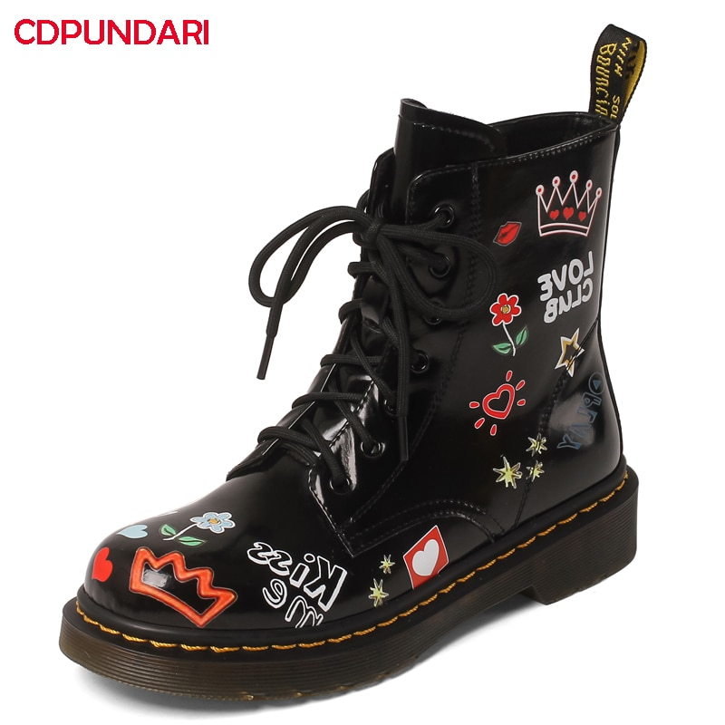 Ladies Graffit Genuine Leather Med Heels Platform Ankle Boots Women Autumn Winter Punk Martin Short Boots Shoes Botines Mujer