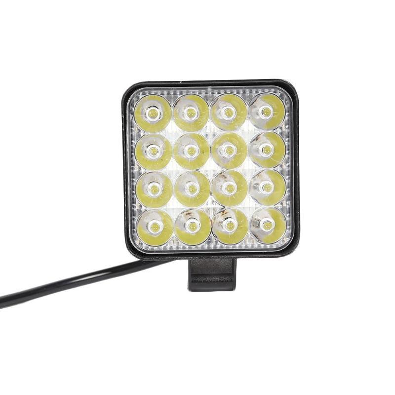 16LED lámpara 48W 2880LM 6500K Super ahorro de energía alto brillo larga vida a prueba de golpes a prueba de polvo cuadrado Mini foco de trabajo