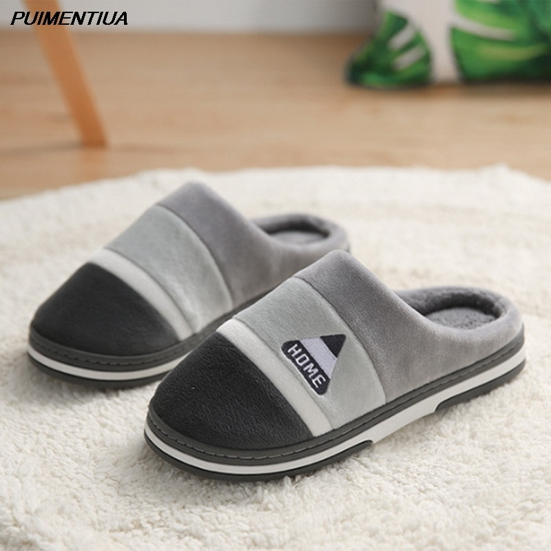 Puimentiua Home Slipper Men Warm Striped Indoors Anti-slip Winter House Shoes Bedroom Slippers Warm Winter Cotton Slippers