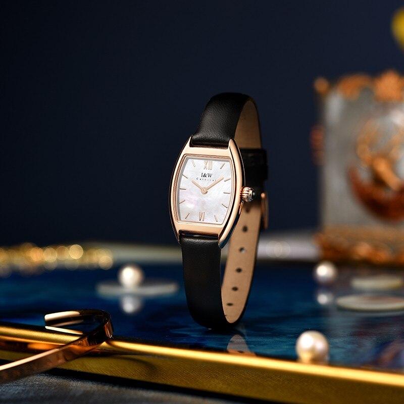 Montre فام الفاخرة العلامة التجارية I & W سامسونج Tonneau المرأة ساعة اليد السويسرية الكوارتز حركة الياقوت مقاوم للماء السيدات فستان ساعة