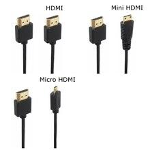 OD 3.0mm Super Soft Micro HDMI-compatible & Mini HDMI-compatible male Thin Cable 2k 4k hd @60hz Light-weight Portable