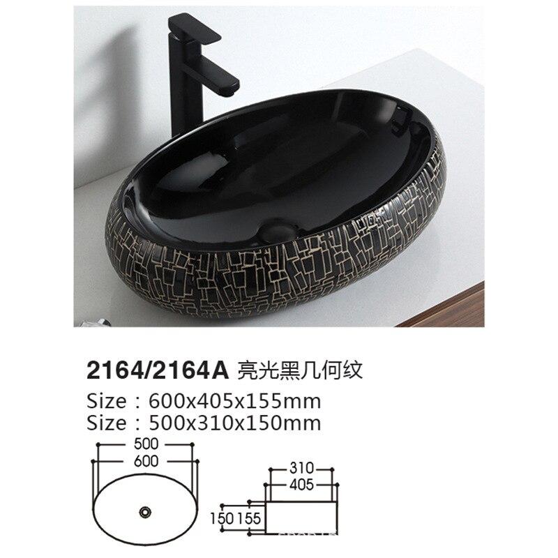 السيراميك مغسلة ضوء أسود مربع الحمام الرجعية حوض غسيل جديد الصينية الجولة بالوعة الحمام شرفة حوض ممسحة