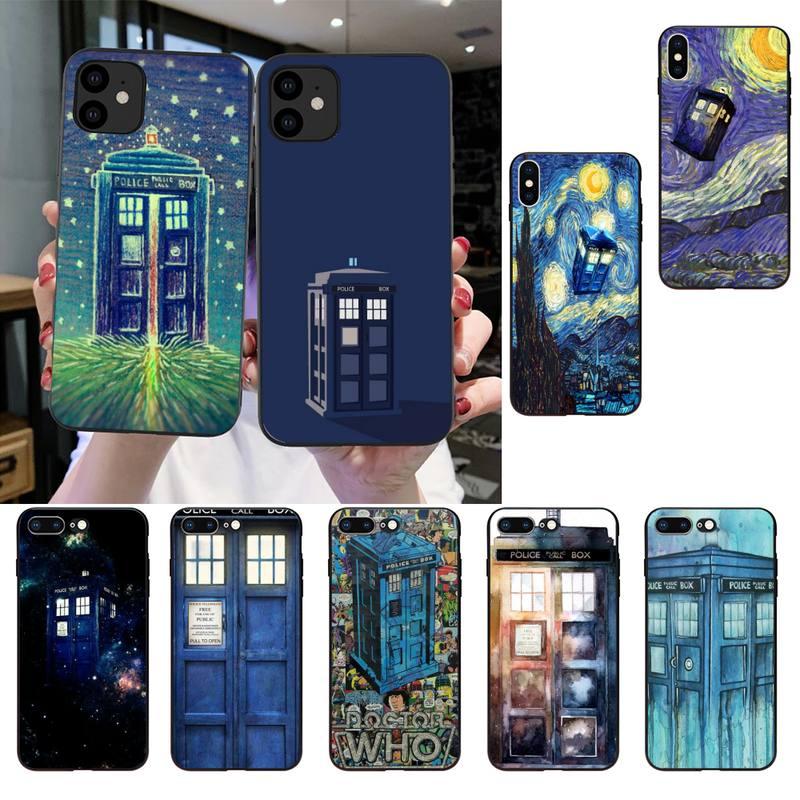 FHNBLJ Tardis Doctor Dr que la caja de la policía suave cubierta de la caja del teléfono para iPhone SE2 11 Pro XS MAX XS XR 8 7 6 Plus 5 5S SE caso