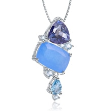 GEMS BALLETT 925 Sterling Silber Candy Topaz Quarz Anhänger Halskette Natürliche Aqua-blau Chalcedon Edelstein Schmuck Für Frauen