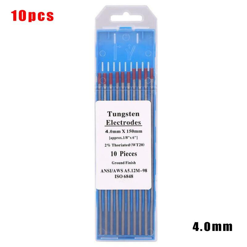 10 Uds., electrodos de tungsteno WT20, varillas de soldadura consumibles, Kit de máquina de arco