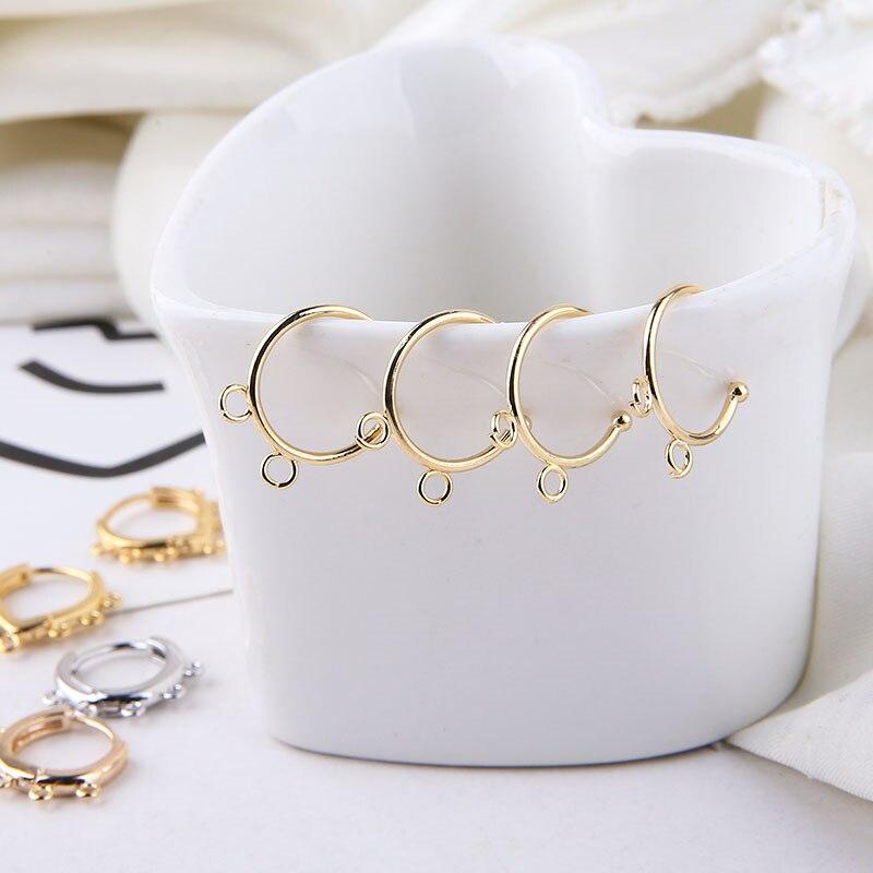 Paquete de 6 piezas de pendientes de aro de moda para chicas y mujeres, joyería circular, accesorios para bricolaje, Material, retención de Color, oro de 18 quilates, cobre