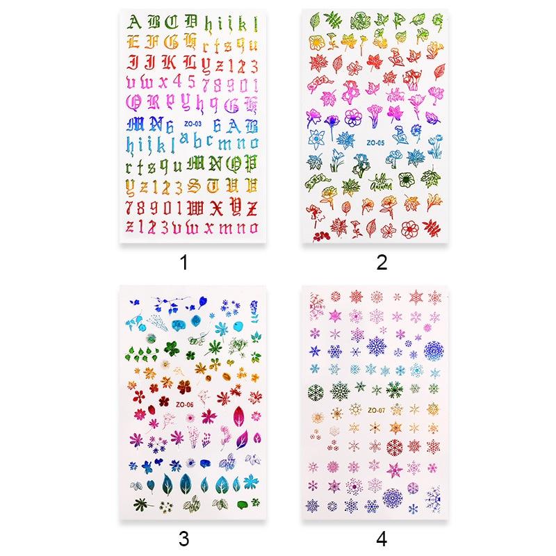 Rainbow Leaf/Rose/Snowflake+ Rainbow Nail Water Decals   106ct /1 Sheet Colorful Rainbow Adhesive-Self Leaf it Nail Art Sticker