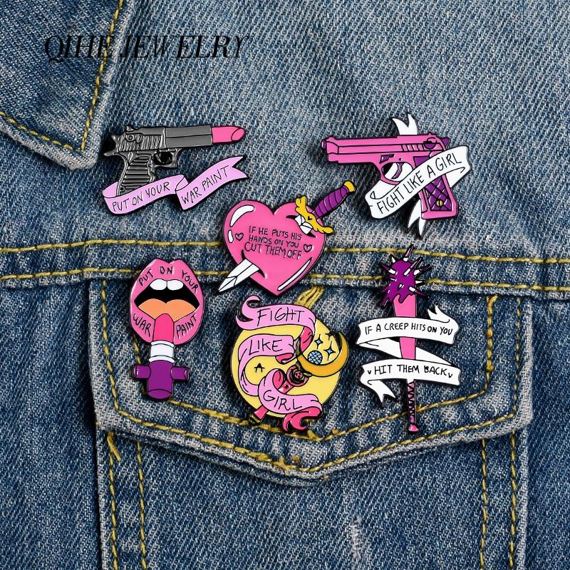 Joyería qihe femenismo Pins Rosa pintalabios esmalte Pins lucha como A broches de niña insignias Denim ropa bolsa Pins regalos para amigos