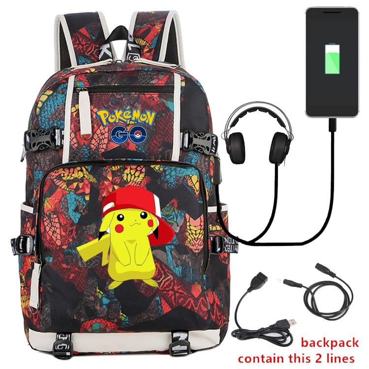 Mochila De Pikachu de dibujos animados, mochila escolar con carga USB, bolsa para portátil de Pokemon, bolsa de estudiante de gran capacidad, Mochilas femeninas