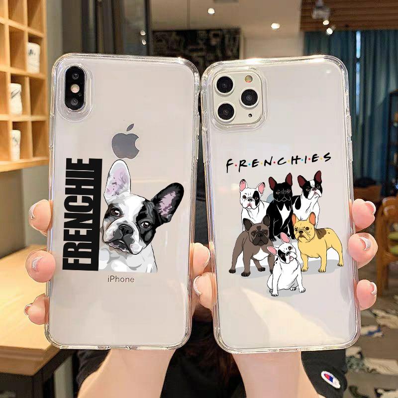 Perro mascota Bulldog francés Kawaii suave teléfono cubierta para Samsung A10 A20 A30 A50 A70 A80 A90 Galaxy casos para S8 S9 S10 más calidad