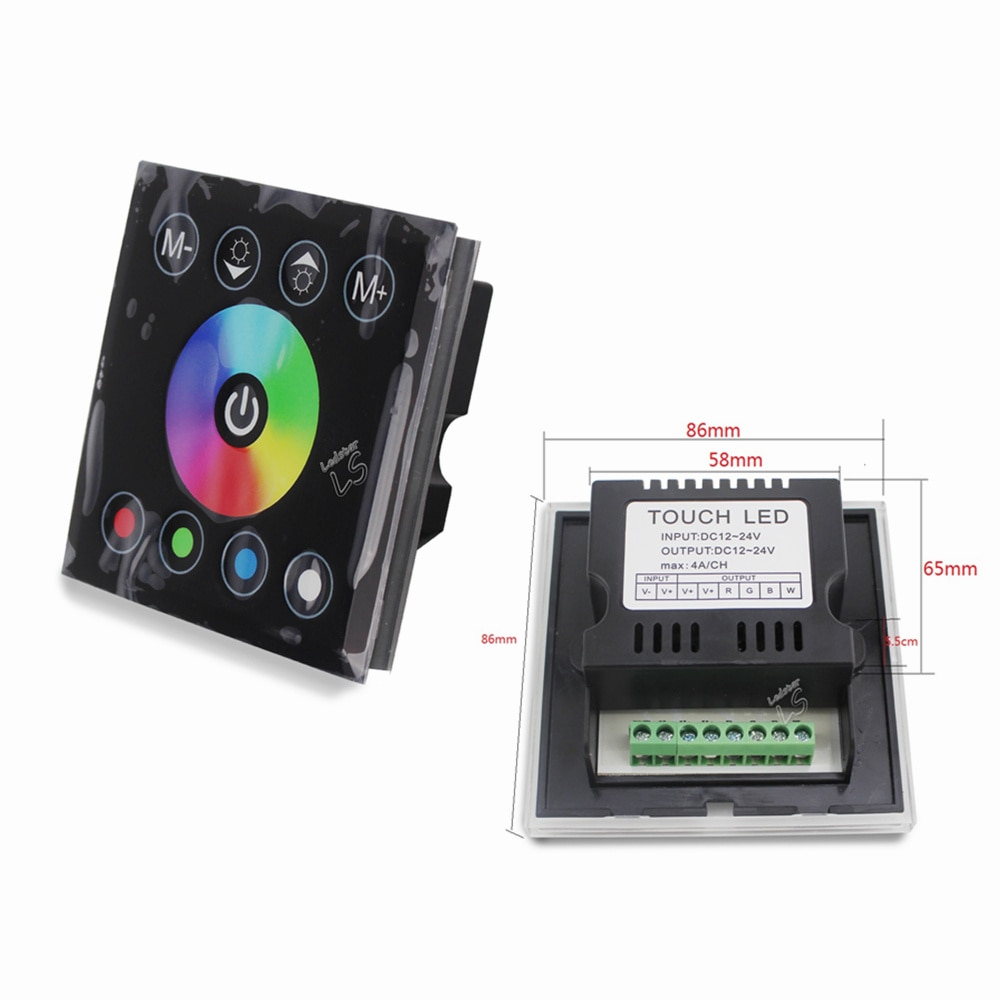 DC12V 4A * 4CH negro vidrio templado Panel táctil digital pantalla atenuador interruptor de luz de pared para RGBW LED tira cinta 4 canales