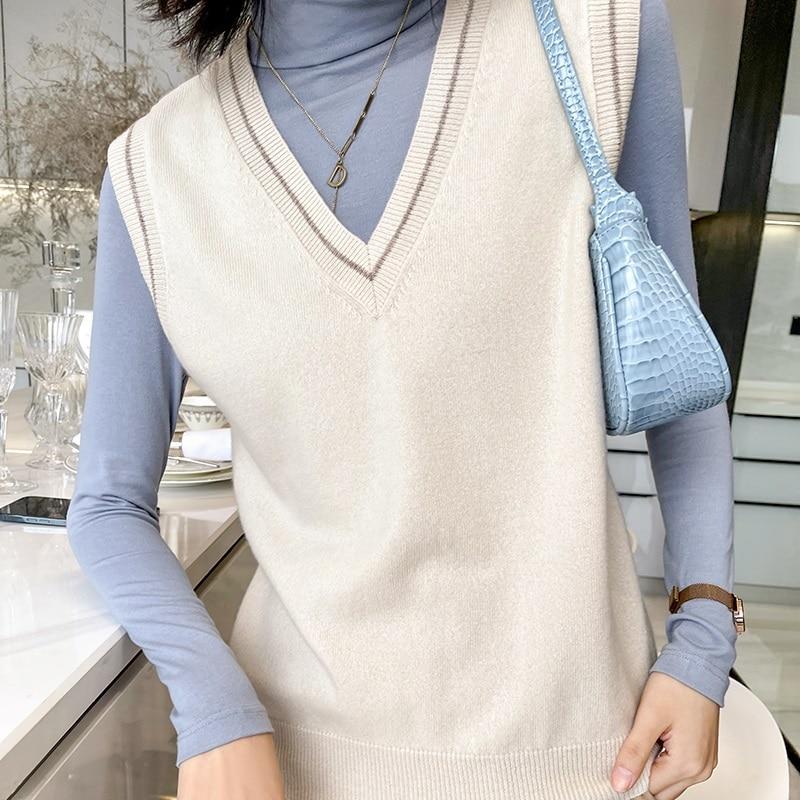 100% Merino Wool Knitted Vest Women V-neck Pullovers Sleeveless Hot Sale Spring Soft Fashion Knitwear Female Tops enlarge
