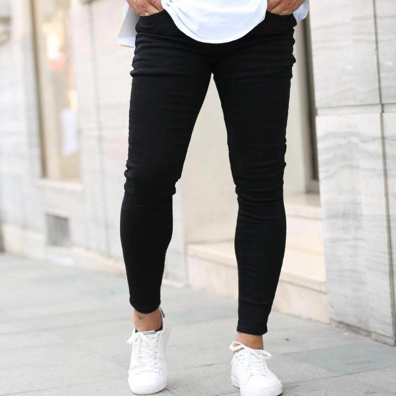Мужские брюки с высокой талией, Стрейчевые джинсы на молнии, повседневные облегающие брюки, мужские джинсы-карандаш, джинсы скинни для мужч...