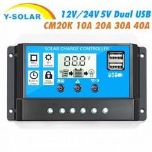CM20K-10A 20A 30A 40A Solar Controller 12V/24V LCD USB Handy Lade