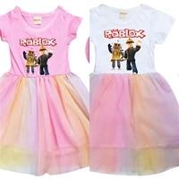 robloxing girls summer dress girls princess dresses kids toddler birthday party children girls xmas casual clothing gift