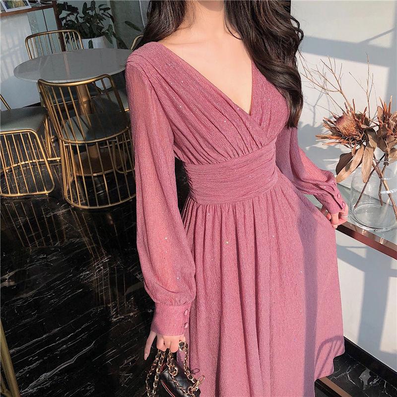 Solid Elegant Dress Women Autumn Sequin Party Midi Female Casual Chiffon Slim Korean 2020 Womens Clothing