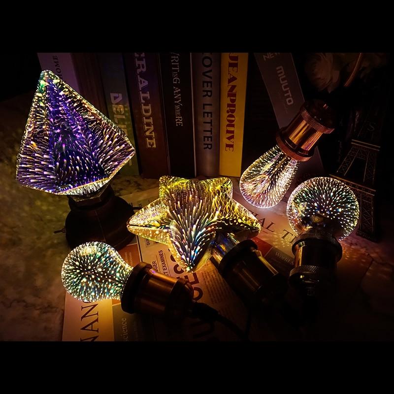 3D красочная светодиодная лампа 85-265 в E27 Звездные фейерверки лампы Эдисона для праздника Рождественская декоративная панель светодиодный н...