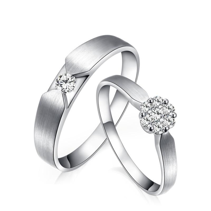 Amor anel de diamante 18 k ouro branco 0.10 + 0.52ct diamante casamento anéis casal conjunto genuíno ouro anel de noivado casamento banda