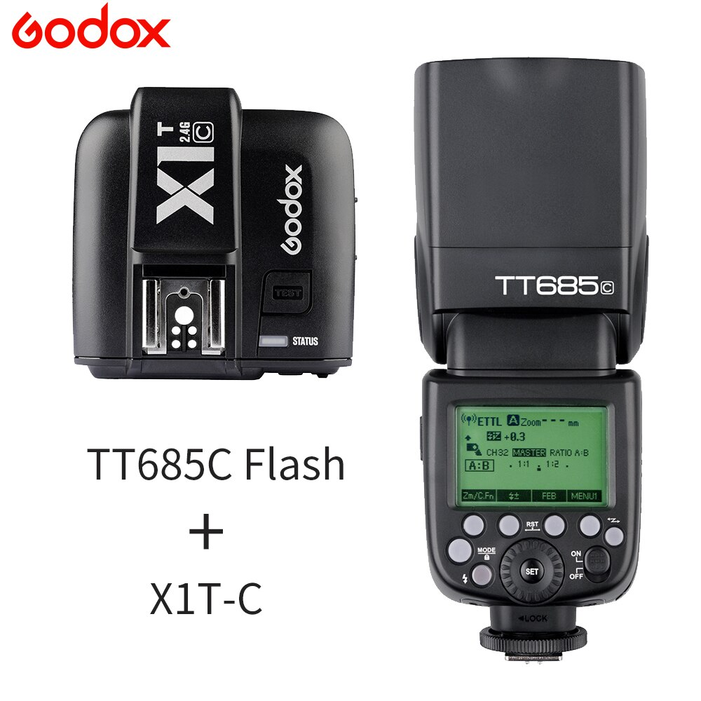 Godox TT685C TT685S TTL 1/8000s alta velocidad inalámbrica 2,4G Speedlite con X1TC XTS transmisor para Canon Sony