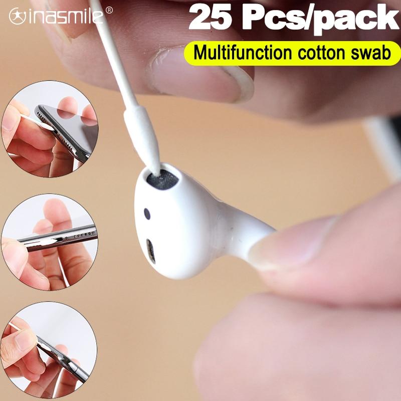 25 uds. De limpieza desechable sin polvo bastoncillo de algodón StickFor auriculares airpods funda para lentes de cámara accesorios de puerto de carga de teléfono