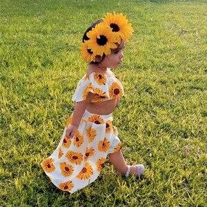 Toddler Baby Girls Off Shoulder Sunflower Print Tops+Skirt Pantskirt Outfits Set vetement enfant fille #4AA19