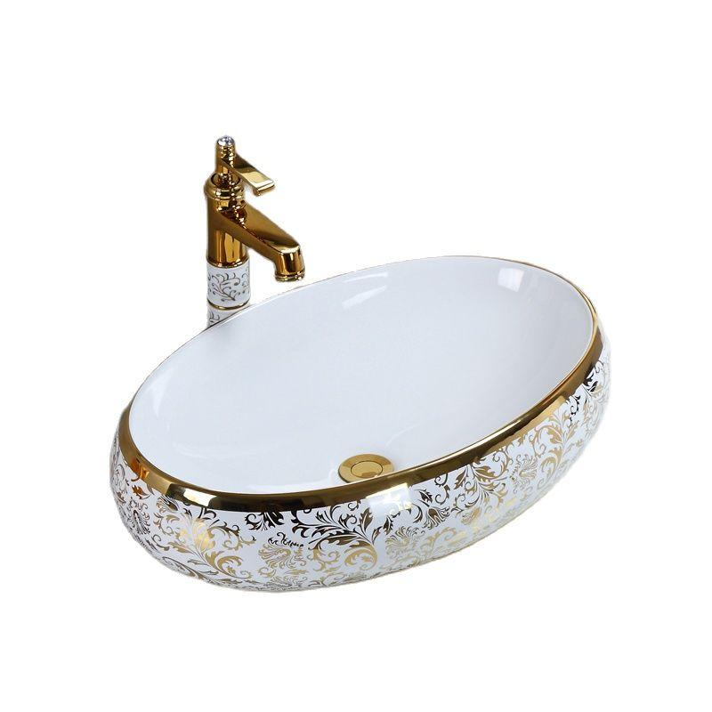 حوض طاولة سيراميك بيضاوي على الطراز الأوروبي ، طاولة مربعة ، حوض غسيل منزلي ، فاخر ، ذهبي ، حوض حمام مع صنبور