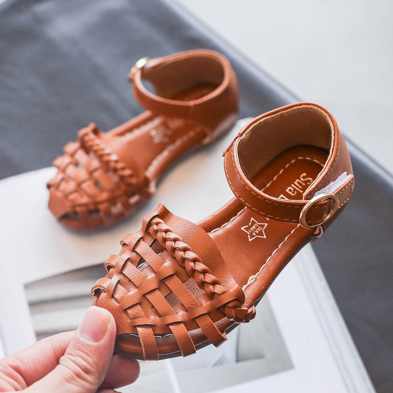 Children Round Head Fashion Weaving Hollow Shoes Kids Soft Bottom Flats Sandals Summer Girls Retro Solid Color Sandals