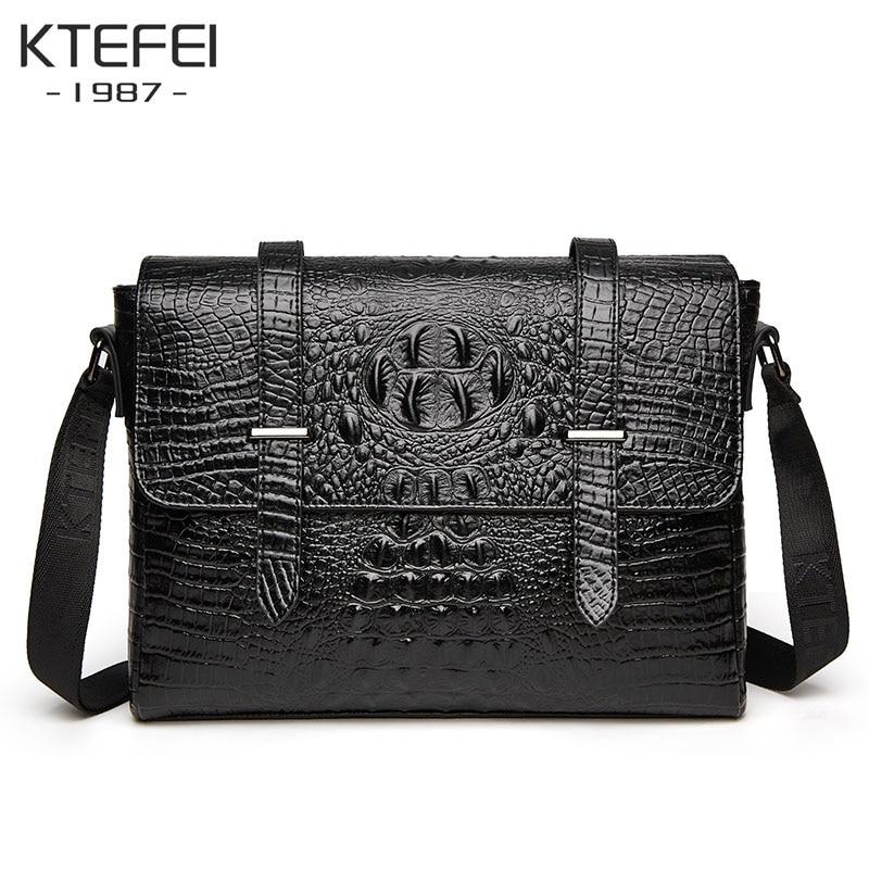 2021 new crocodile pattern men's briefcase large capacity shoulder bag travel messenger bag