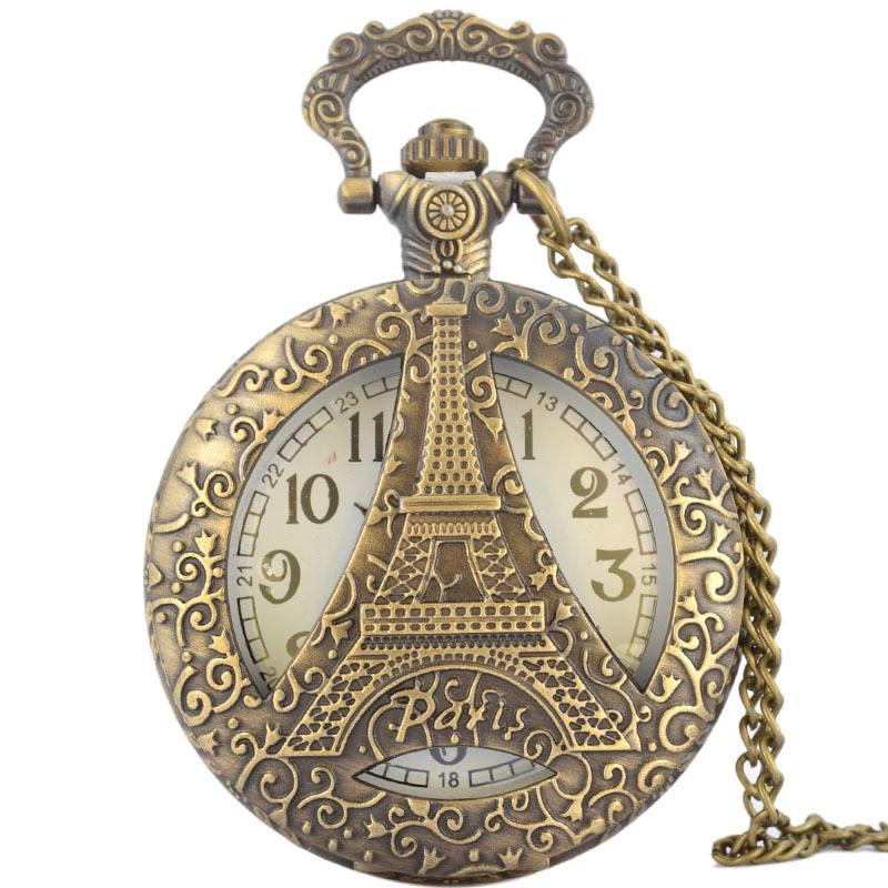 Classic Architecture Pocket Watch 47MM Bronze Round Classic Architecture Paris Eiffel Tower Fashion Quartz Pocket Watch eiffel tower round wood analog wall clock
