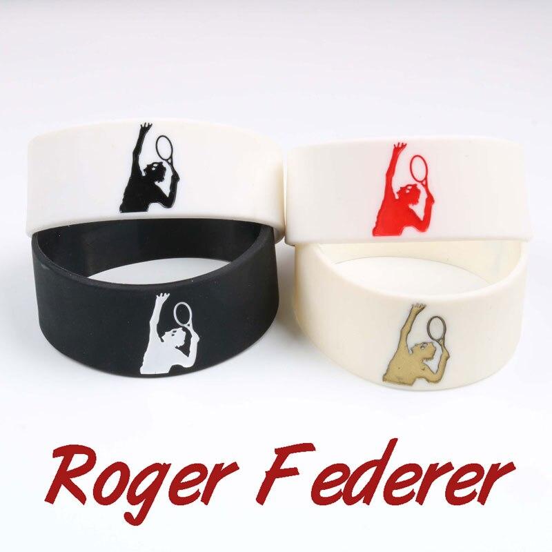 1 unidad, venta al por menor, Tenis King Roger Federer, pulseras deportivas de silicona, pulsera de Versión amplia, pulsera de moda, artículo