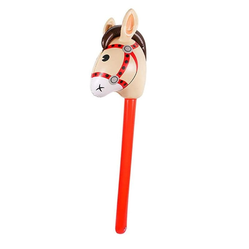 Inflatable Horse Heads Cowgirl Stick PVC Balloon Outdoor Educational Toys Gifts