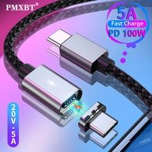 PMXBT 5A Magnetische Typ C zu USB-C Kabel Für MacBook Pro Schnelle Lade 100W PD Magnet USB-C Typ-C Kabel für Samsung S9 S8 Huawei