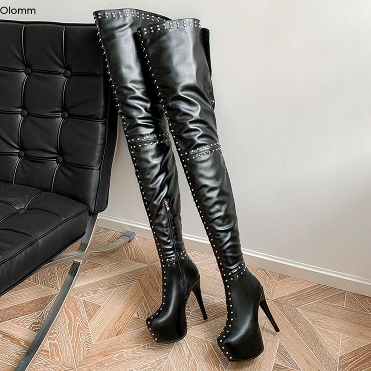 Olomm-أحذية نسائية بكعب عالٍ ، أحذية نسائية بكعب عالٍ ، مرصعة ، مقدمة مستديرة ، لون أبيض ، أسود ، صناعة يدوية ، مقاس أمريكي 4-16