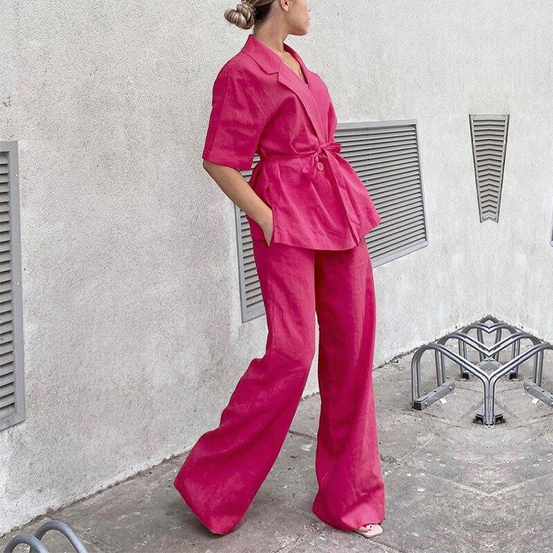 النساء القطن الكتان بنطال ذو قصة أرجل واسعة دعوى 2 قطعة مجموعات حقق أنيقة الظلام الوردي نصف كم مكتب السيدات مجموعة الصيف 2021 الخريف