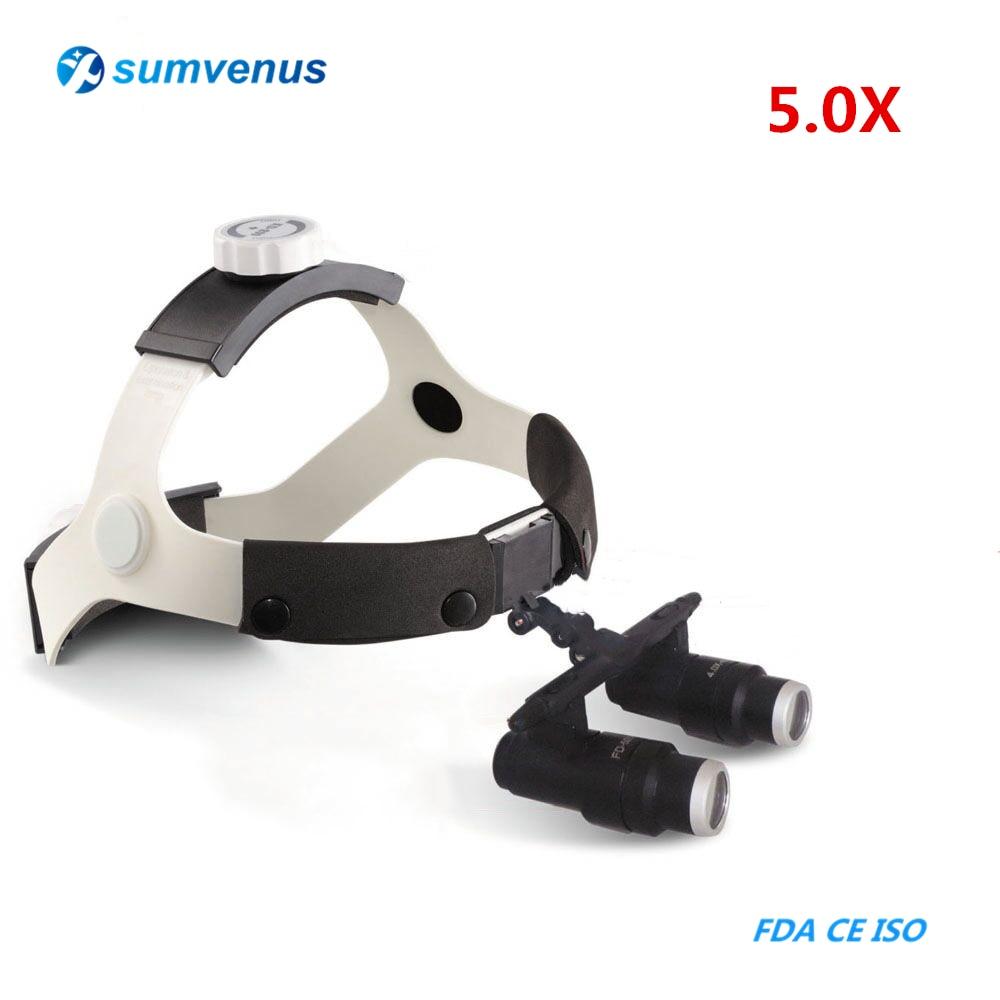 5.0X Medical Dental Headband Binocular Low Magnifier Kepler EXamination Dentistry Surgical Glasses Loupes